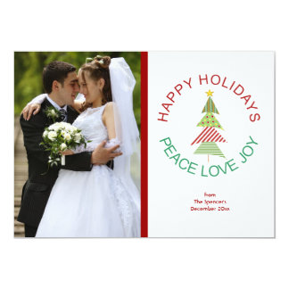 Happy Holidays Whimsical Christmas Tree Photo Card