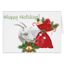 Happy Holidays White Goat With Christmas Goodies Card