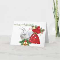 Happy Holidays White Goat With Christmas Goodies Holiday Card