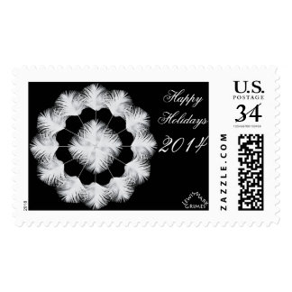 Happy Holidays White Peacock 2014 Postage Stamps