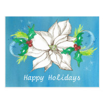 Happy Holidays White Poinsettia Flower Postcard
