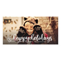 Happy Holidays White Script Photo Overlay Greeting Card