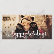 Happy Holidays White Script Photo Overlay Greeting Holiday Card