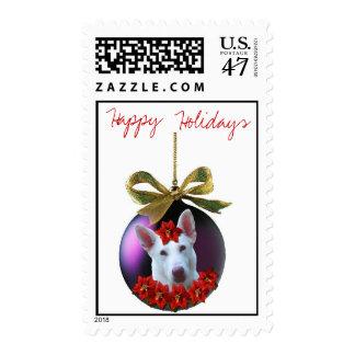 Happy Holidays White Shepherd Christmas Ornament Postage