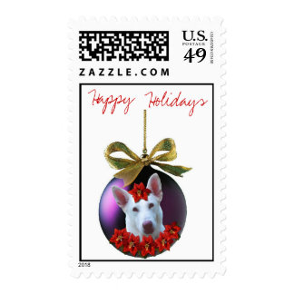 Happy Holidays White Shepherd Christmas Ornament Stamps