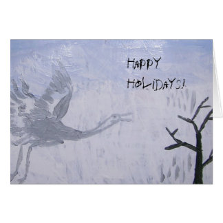 Happy Holidays Whooping Crane Greeting Card