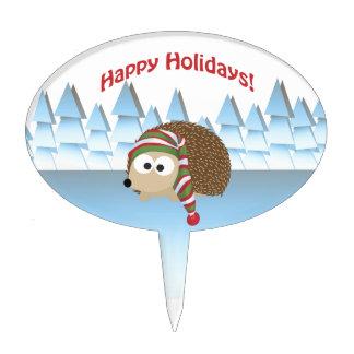 Happy Holidays! Winter Hedgehog Cake Topper