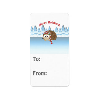 Happy Holidays! Winter Hedgehog Label