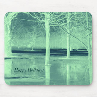 Happy Holidays Winter Landscape Mouse Pad