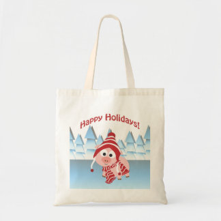 Happy Holidays! Winter Pig Tote Bags