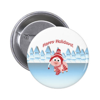 Happy Holidays! Winter Pig Button