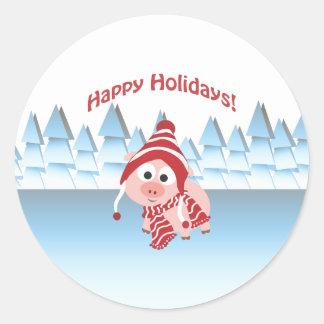 Happy Holidays! Winter Pig Classic Round Sticker