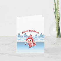 Happy Holidays Winter Pig Holiday Card