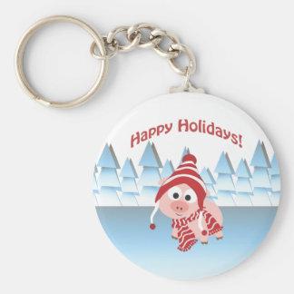 Happy Holidays! Winter Pig Keychain