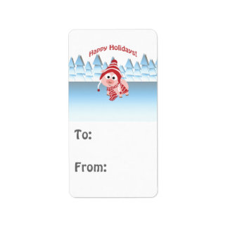 Happy Holidays! Winter Pig Label