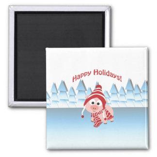 Happy Holidays! Winter Pig Magnet
