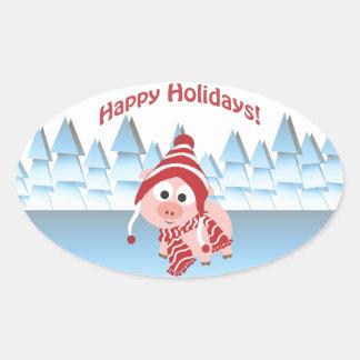 Happy Holidays! Winter Pig Oval Sticker