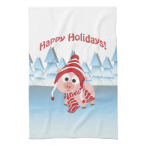 Happy Holidays! Winter Pig Towel