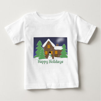 Happy Holidays Winter Scene with Snowman Baby T-Shirt