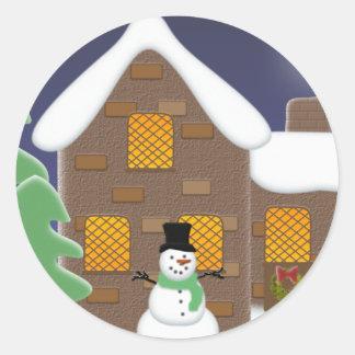 Happy Holidays Winter Scene with Snowman Classic Round Sticker