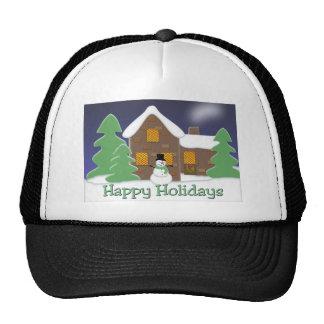 Happy Holidays Winter Scene with Snowman Trucker Hat
