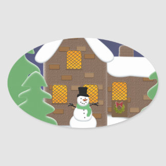 Happy Holidays Winter Scene with Snowman Oval Sticker