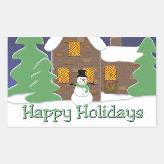 Happy Holidays Winter Scene with Snowman Rectangular Sticker