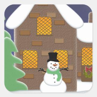 Happy Holidays Winter Scene with Snowman Square Sticker