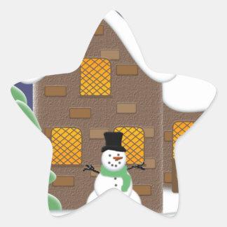 Happy Holidays Winter Scene with Snowman Star Sticker