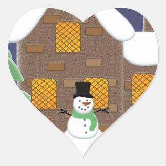 Happy Holidays Winter Scene with Snowman Heart Sticker