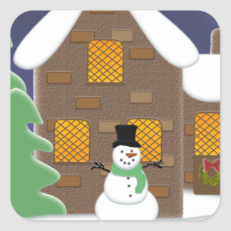 Happy Holidays Winter Scene with Snowman Sticker