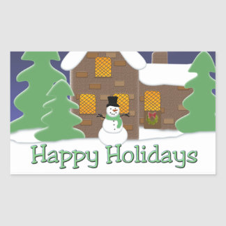 Happy Holidays Winter Scene with Snowman Rectangle Sticker