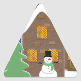 Happy Holidays Winter Scene with Snowman Stickers