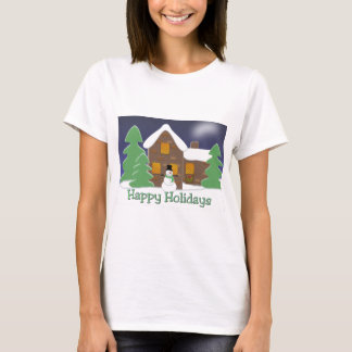 Happy Holidays Winter Scene with Snowman T-Shirt