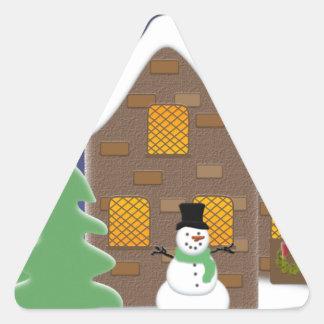 Happy Holidays Winter Scene with Snowman Triangle Sticker