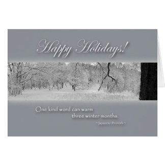 Happy Holidays, Winter Scene with Winter Quote Card