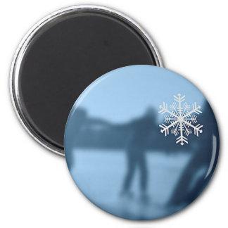 Happy Holidays Winter Season Snow 2 Inch Round Magnet