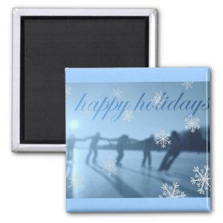 Happy Holidays Winter Season Snow 2 Inch Square Magnet