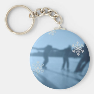 Happy Holidays Winter Season Snow Basic Round Button Keychain
