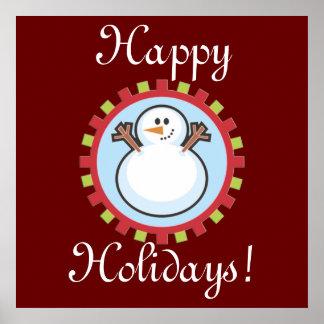 Happy Holidays Winter Snowman Print