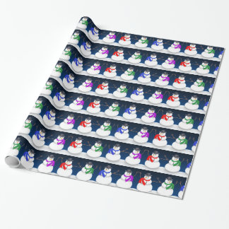Happy Holidays Winter Snowmen Wrapping Paper