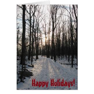 Happy Holidays Winter Trees Card