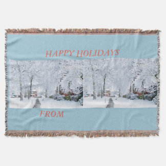 HAPPY HOLIDAYS WINTER WONDERLAND THROW BLANKET