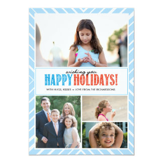 Happy Holidays Wishes x4 5x7 Paper Invitation Card