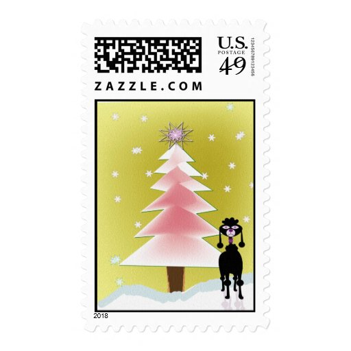 Happy Holidays ... with a poodle Postage Stamps