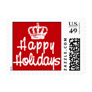 Happy Holidays with Crown in Red and White Postage