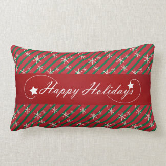 Happy Holidays with Dark Red and Green Stripes Lumbar Pillow