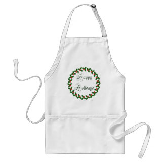 Happy Holidays With Holly Wreath Adult Apron