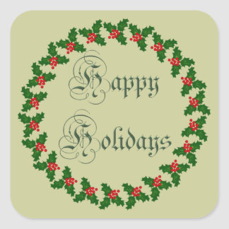 Happy Holidays With Holly Wreath Square Sticker