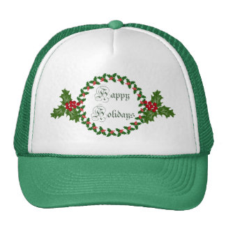 Happy Holidays With Holly Wreath Trucker Hat
